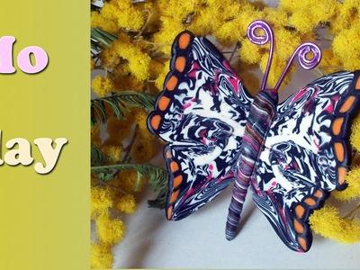 DIY Butterfly Polymer Clay tutorial. Facile Farfalla - Arcillas Poliméricas: Mariposa