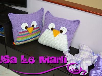 Tutorial cuscino gufo a uncinetto. Crochet Owl Pillows tutorial PARTE2