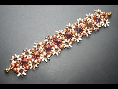 """Bracciale """"Aldebaran"""" con le Pyramid, Superduo, O Beads e Perle Swarovski - PerlineBijoux.com"""
