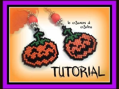 Tutorial Halloween - Orecchini con Ciondolo Zucca Peyote e Brick Stitch (1 Parte)