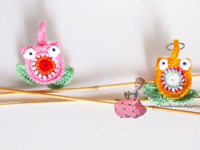 Ciondoli gufo a uncinetto portafortuna - schema. Crochet pendant. Coccinelle creative blog.