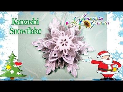 Tutorial Kanzashi Snowflake | Fiocco di neve