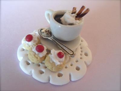 DIY Polymer clay hot chocolate and pastries. merenda cioccolata e pasticcini :)