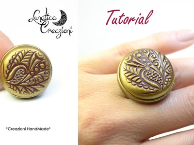 Polymer Clay Tutorial: Anello in fimo con texture, pigmenti e base in bronzo | Ring with mica powder