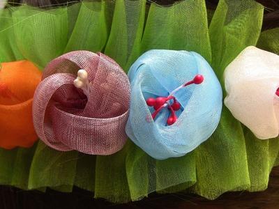 Botoes  de  Organza (tiara) Passo a Passo - Kanzashi Flower, Ribbon Rose,Tutorial, DIY