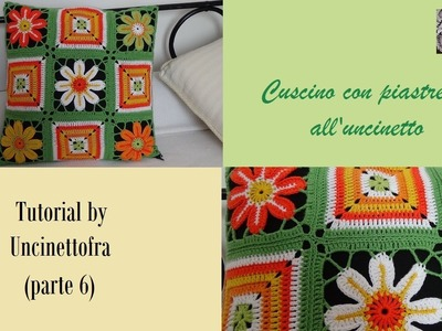 Cuscino con piastrelle all'uncinetto tutorial (parte 6)