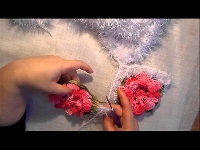Uncinetto fiore monique tappeto cuore 5° parte Alfombra ganchillo croche tapete Coraçao