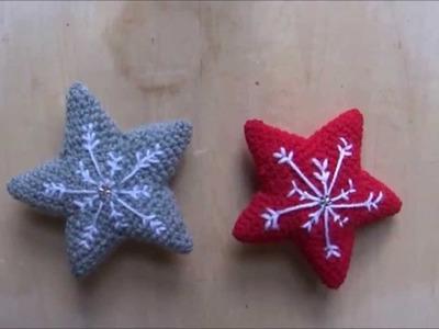 Ricamare un fiocco di neve sulla stella amigurumi