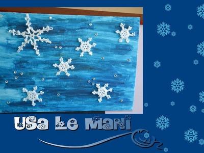 Quadro fiocchi di neve all'uncinetto. crochet snowflakes painting