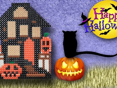 3D Casa Stregata di Halloween Hama Beads. Halloween House Perler Bead Tutorial