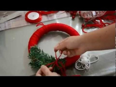 Tutorial ghirlanda di Natale fai da te.  Tutorial Christmas wreath DIY