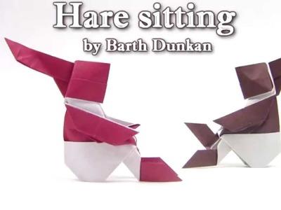 Origami Hare sitting by Barth Dunkan - Yakomoga Origami tutorial