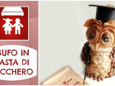 GUFO in PAsta di Zucchero. How to make a fondant Owl (Dolci decorazione) 2C+K