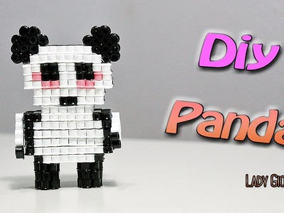 Panda 3D con Hama Beads.How to make Panda Perler Beads ʕ•ᴥ•ʔ