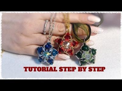 DIY tutorial gioiello double face a stella con perle e swarovski fai da te 2
