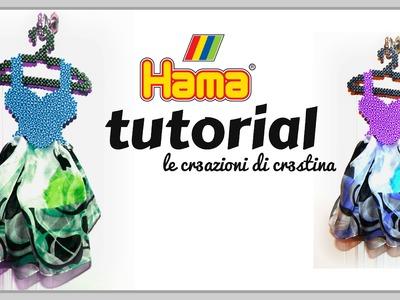 Vestitino Porta Foulard con HAMA BEADS.Pyssla - Mother's Day Dress Foulard Holder DIY Tutorial