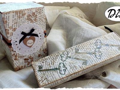 Tutorial: Contenitori Vintage.Shabby Chic | Riciclo Creativo scatole di cartone