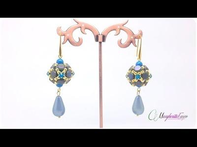 Il mio Tutorial con perline, come fare orecchini Julie con honeycomb, swarovski e seed beads.