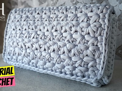 "Tutorial uncinetto pochette ""Stella"" | Punto stella | Crochet star stitch | Katy Handmade"