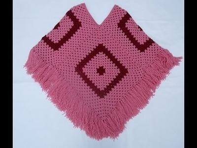 Crochet Uncinetto Poncho Quattro Quadrati Tutorial