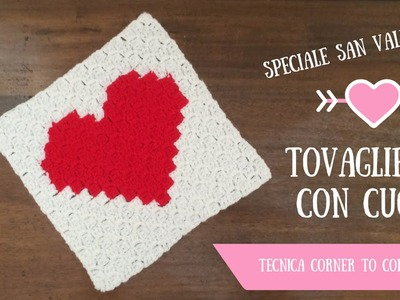 Speciale San Valentino - Tovaglietta con cuore (tecnica c2c)