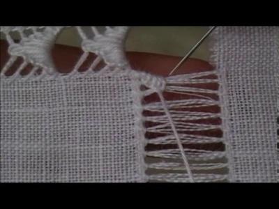 Sfilatura con frecce a punto festone - Tutorial ricamo a mano