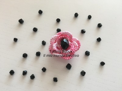 Fiore 3D Chiaccierino ad ago. 3D flower needle tatting