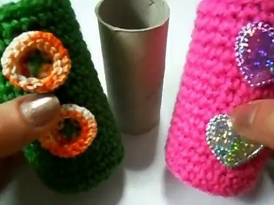 Portaoggetti cilindrico all'uncinetto