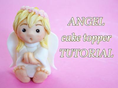 Simple angel baptism cake topper - angelo in pasta di zucchero per torta battesimo