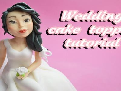 Bride sugar paste wedding cake topper fondant - tutorial sposa in pasta di zucchero