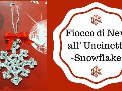 Fiocco di Neve o Stella di ghiaccio all'Uncinetto - Crochet a Snowflake (English sub)