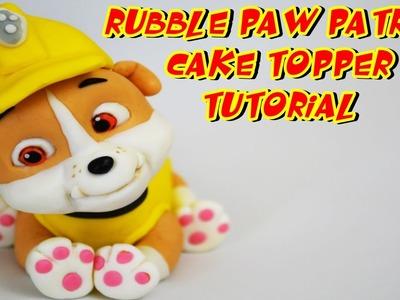 RUBBLE PAW PATROL CAKE TOPPER FONDANT - BULL DOG PASTA DI ZUCCHERO TORTA TUTORIAL
