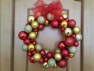 Ghirlanda di Natale con le palline,Tutorial  Christmas  Ornament  Wreath