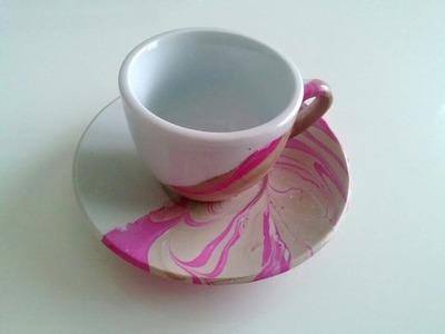Tazze da caffè decorate con smalto ☆ Marble Art ☆Tutorial #14