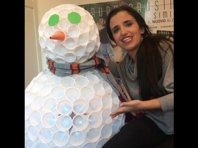 Pupazzo di Neve con i bicchieri di plastica #DIY
