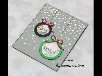 Christmas Shaker card tutorial-Biglietto auguri Natale fai da te-Scrapbooking Tutorial