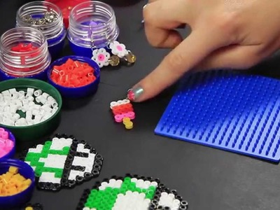 Hama beads - pyssla - orecchini gelato - perline termofusione - video tutorial - corso