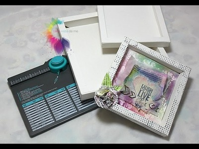 Cornice 3D-Shadow box con Envelope Punch Board-Scrapbooking Tutorial-Cornice Fai da te