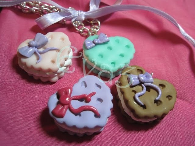 DIY Polymer clay: sweet cookies. biscotto a cuore ripieno
