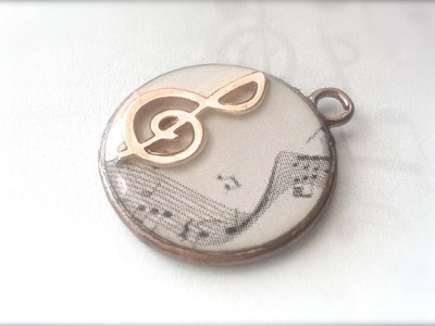 DIY resina: ciondolo musicale. Resin treble clef charm ♫