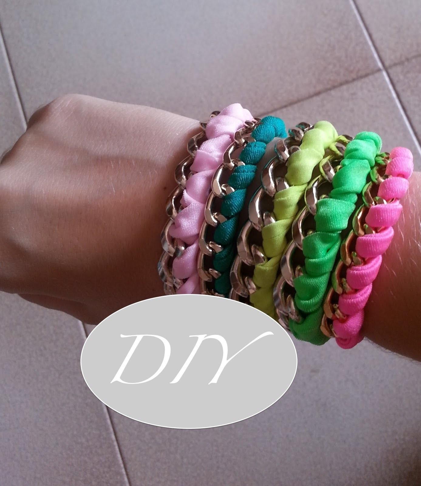 DIY: tutorial bracciale catena & fettuccia