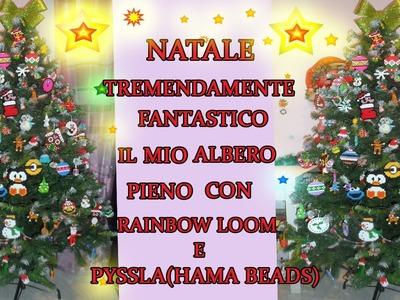 ♥ IL MIO BELLISSIMO  ALBERO DI NATALE PIENO ZEPPO CON RAINBOW LOOM E PYSSLA(Hama Beads)♥