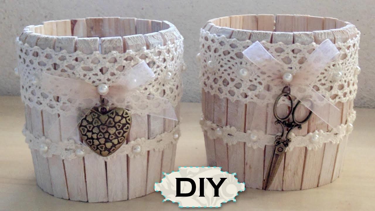 Tutorial: Barattolo in Legno Shabby Chic  Riciclo Creativo con Mollette e Barattoli  DIY Jar Wooden