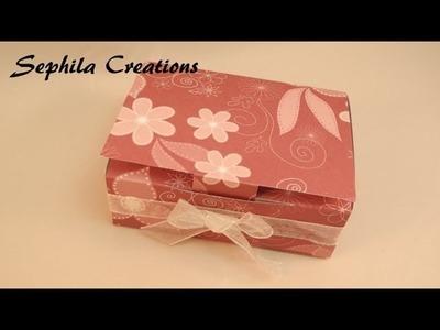 Tutorial: Scatolina con carta scrap (per creazioni o come bomboniera - scrapbooking box) [sub-eng]