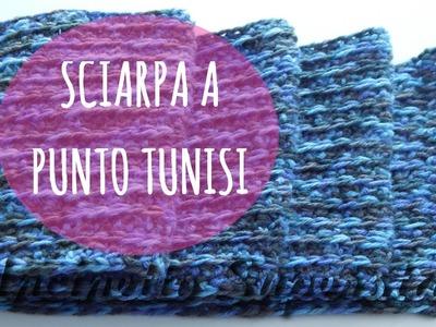 Tutorial sciarpa uncinetto punto a coste tunisino | Tunisian crochet scarf