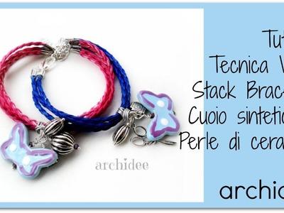 Tutorial Wire | Braccialetti Cuoio sintetico e Perle di Ceramica di Saida Jama | DIY Stack Bracelets