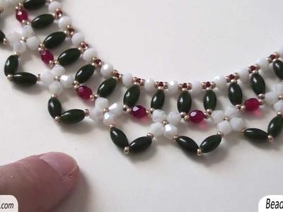 Collana con perline: collare realizzato con perline e cristalli economici | Nuove Creazioni