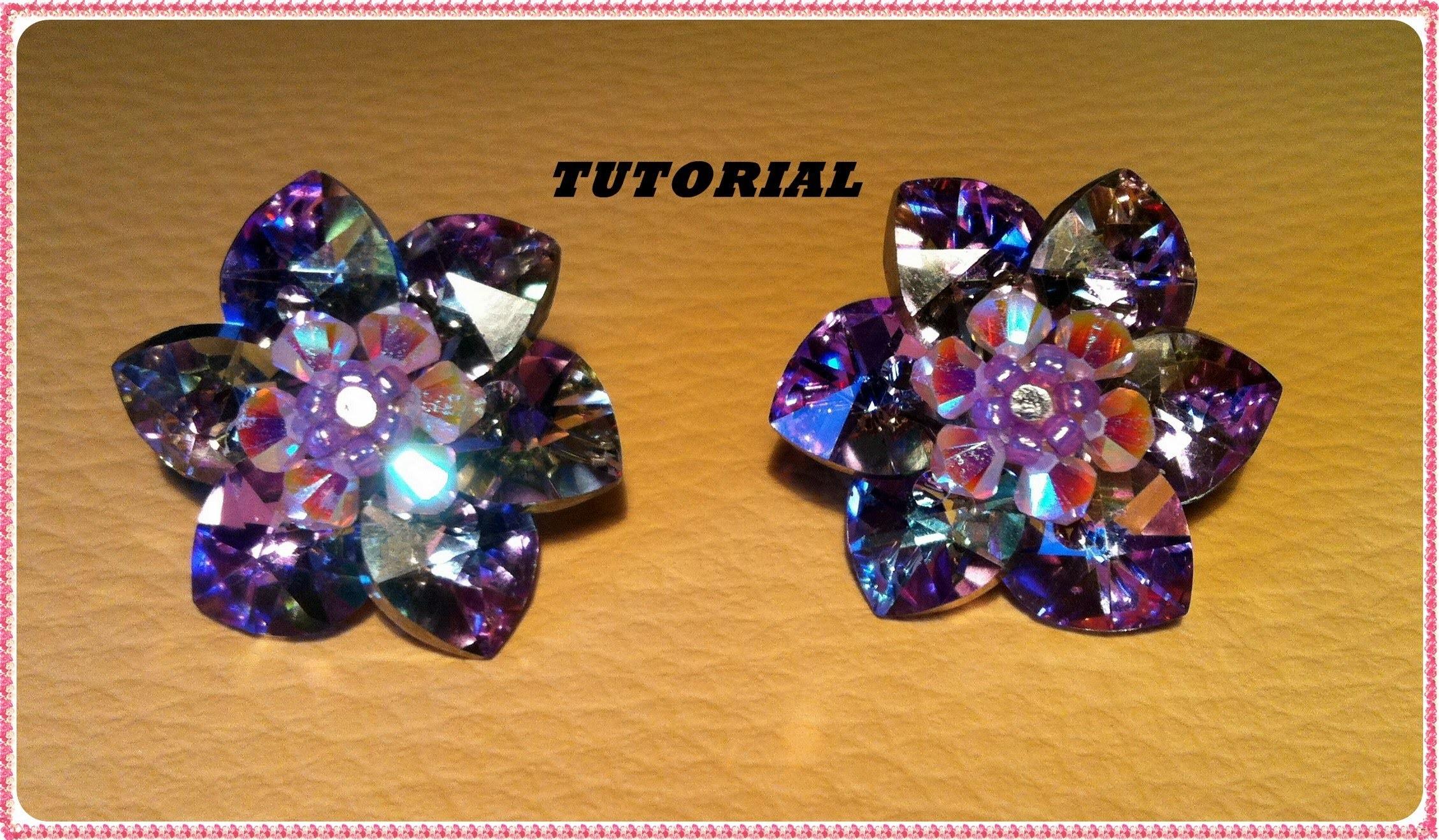 TUTORIAL DIY   Come fare un fiore con cuori swarovski e creare un paio di orecchini dummies