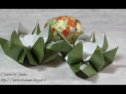Portauova Origami Tutorial - Origami Egg cup Tutorial (Pasqua.Easter) - Pasqua fai da te