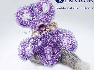 """Anello """"Viola mammola"""" di perline e cristalli e tutorial DIY foglia russa"""